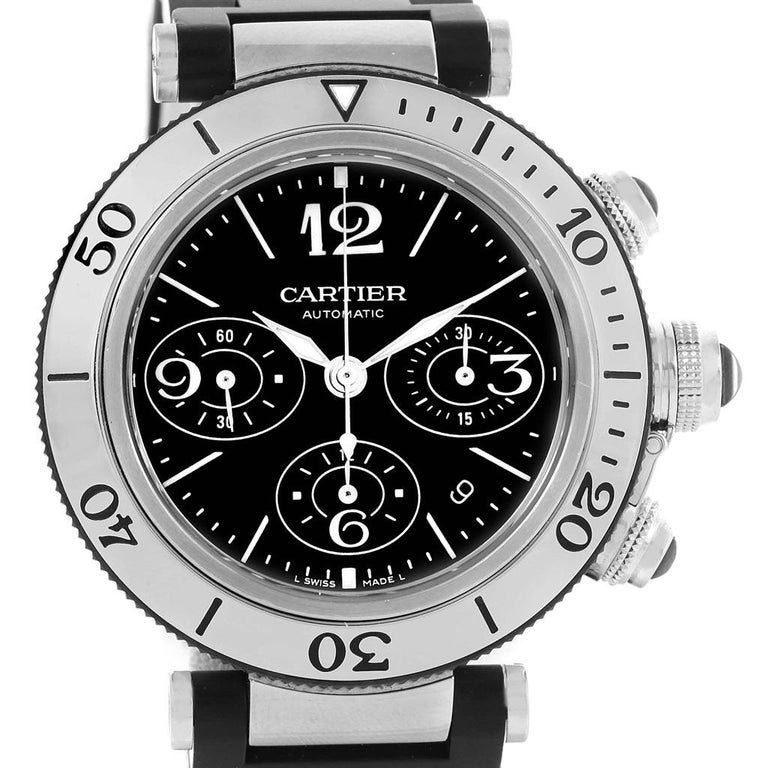 Cartier Pasha Seatimer Chronograph Rubber Strap Men s Watch W31088U2 Papers  For Sale 5 64447fabc1