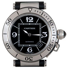 Cartier Pasha Seatimer Gents Stainless Steel Black Dial W31077U2