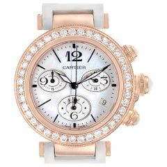 Cartier Pasha Seatimer Rose Gold Diamond Ladies Watch WJ130004