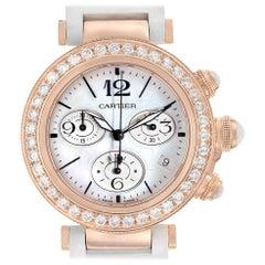 Cartier Pasha Seatimer Rose Gold Diamond Ladies Watch WJ130004