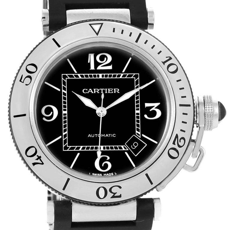 fe15262e7344 Cartier Pasha Seatimer Rubber Strap Steel Men s Watch W31077U2 In Excellent  Condition For Sale In Atlanta
