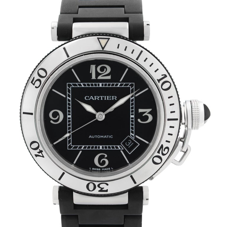 Pre Owned Cartier Pasha Seatimer Stainless Steel Black Dial Rubber Men's Watch W31077U2. This Beautiful Timepiece is Powered by Mechanical (Automatic) Movement And Features: Round Stainless Steel Case with a Black Rubber Covered Stainless Steel