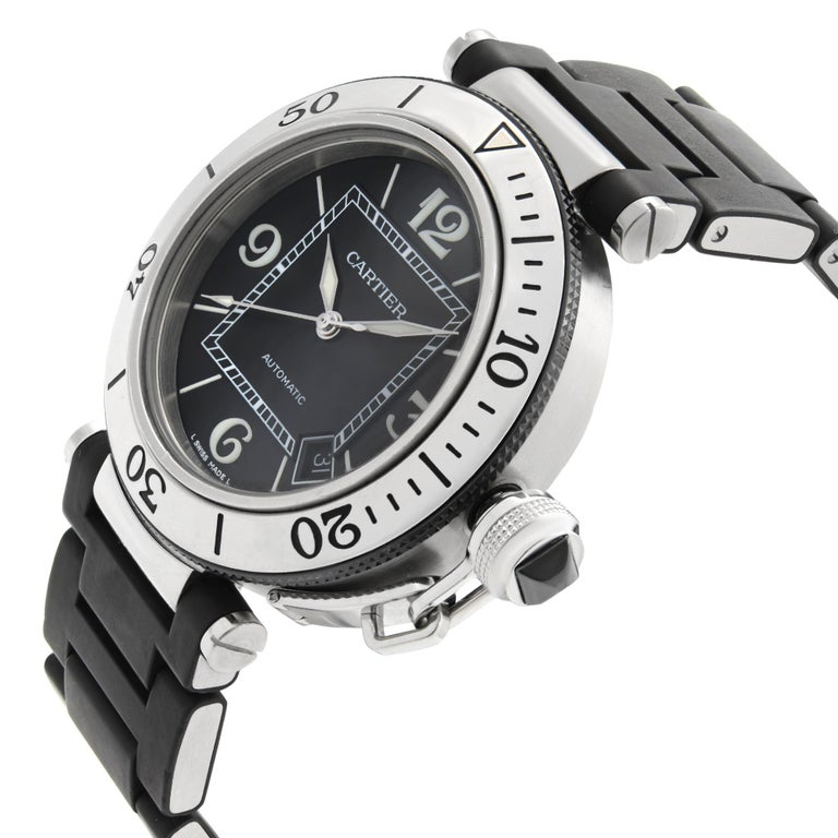 Cartier Pasha Seatimer Stainless Steel Black Dial Rubber Mens Watch W31077U2 In Excellent Condition For Sale In New York, NY