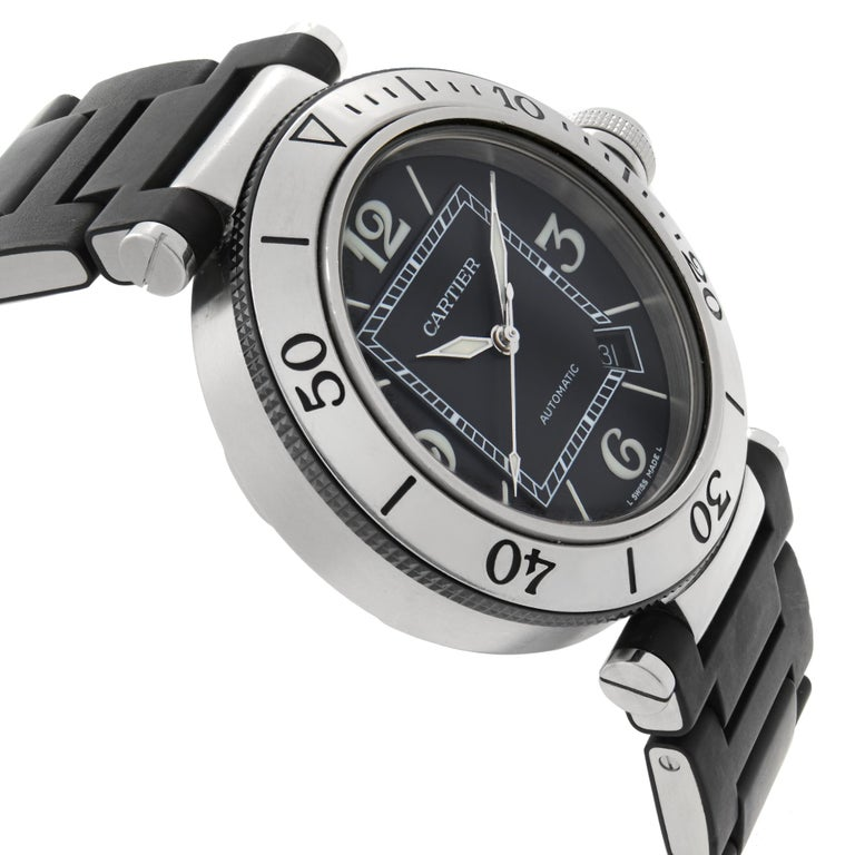 Men's Cartier Pasha Seatimer Stainless Steel Black Dial Rubber Mens Watch W31077U2 For Sale
