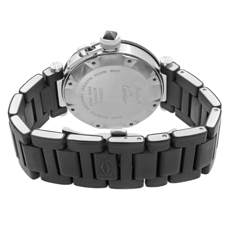 Cartier Pasha Seatimer Stainless Steel Black Dial Rubber Mens Watch W31077U2 For Sale 1