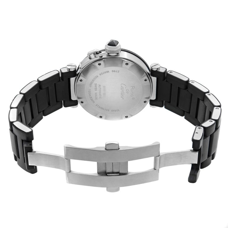 Cartier Pasha Seatimer Stainless Steel Black Dial Rubber Mens Watch W31077U2 For Sale 2