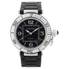 Cartier Pasha Seatimer Stainless Steel Black Dial Rubber Mens Watch W31077U2