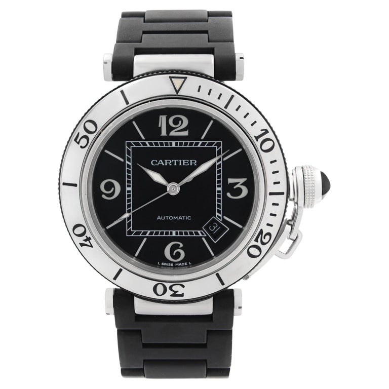 Cartier Pasha Seatimer Stainless Steel Black Dial Rubber Mens Watch W31077U2 For Sale