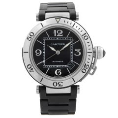 Cartier Pasha Seatimer Steel Rubber Black Dial Automatic Men's Watch W31077U2