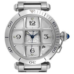 Cartier Pasha Silver Dial Steel Grid Unisex Watch W31059H3 Box Papers