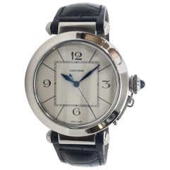 Cartier Pasha Stainless Steel Auto Watch on Leather Strap, Exhibition Case Back