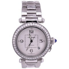 Cartier Pasha Stainless Steel White Diamond Bezel Ladies Watch 2384