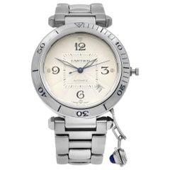 Cartier Pasha Steel Silver Arabic Guilloche Dial Automatic Men's Watch 2379