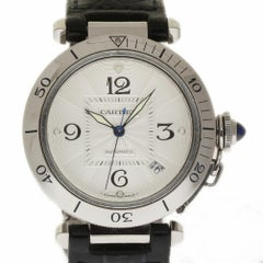 Cartier Pasha W3103155 Stainless Steel Leather Silver 2 Year Warranty #118-4