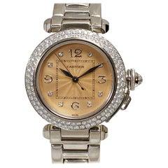 Cartier Pasha White Gold and Diamonds Automatic Wristwatch
