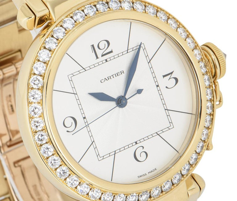 Cartier Pasha Yellow Gold Diamond Bezel WJ1203H9 In Excellent Condition For Sale In London, GB