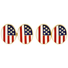 Cartier Patriotic Enamel 18 Karat Gold American Flag Men's Cufflinks