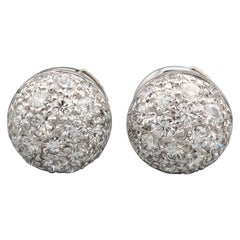 Cartier Pave Diamond 18 Karat White Gold Dome Earrings Studs