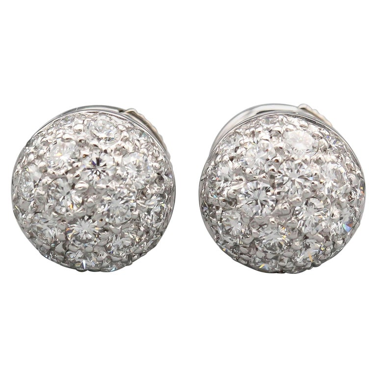Cartier Pave Diamond 18 Karat White Gold Dome Earrings Studs For Sale
