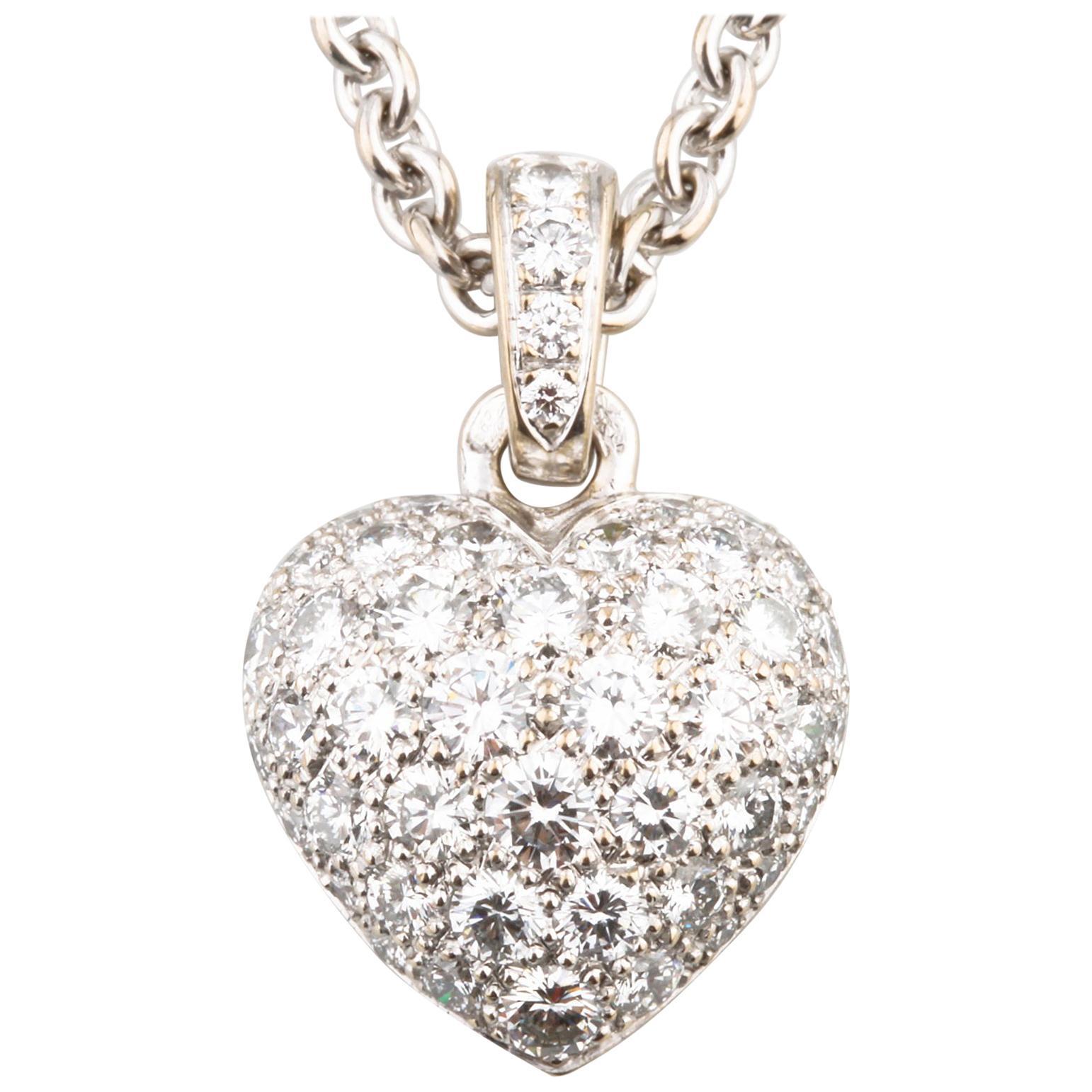 Cartier Pave Diamond 18 Karat White Gold Heart Pendant Necklace