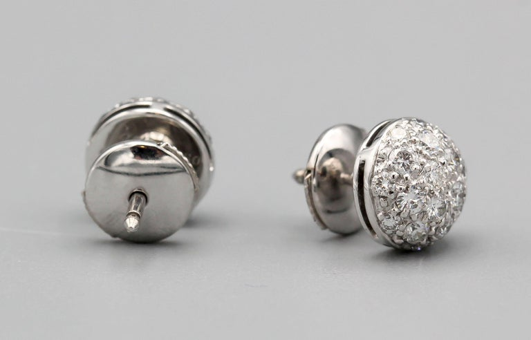 Cartier Pave Diamond 18 Karat White Gold Dome Earrings Studs In Excellent Condition For Sale In New York, NY