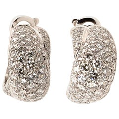 Cartier Pave Diamond Hoop Earrings