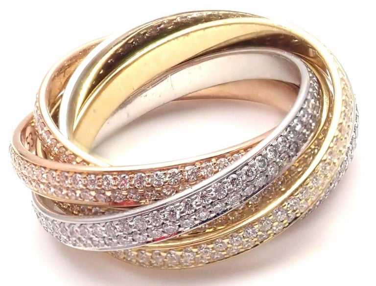 Cartier Pave Diamond Three-Color Gold Two for Trinity Six-Band Ring In As New Condition For Sale In Southampton, PA