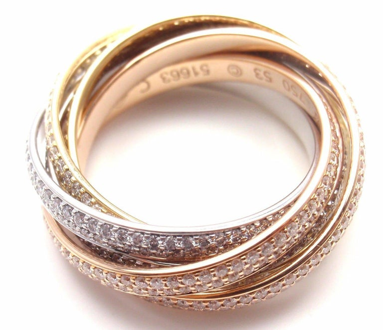 Women's or Men's Cartier Pave Diamond Three-Color Gold Two for Trinity Six-Band Ring For Sale