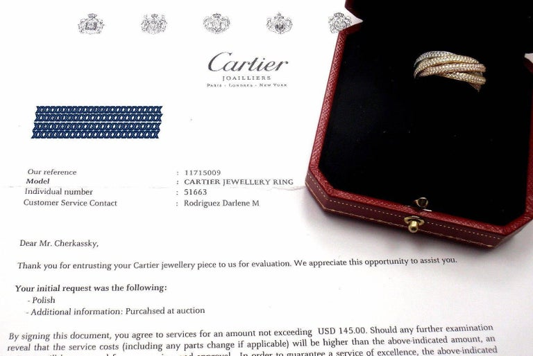 Cartier Pave Diamond Three-Color Gold Two for Trinity Six-Band Ring For Sale 2