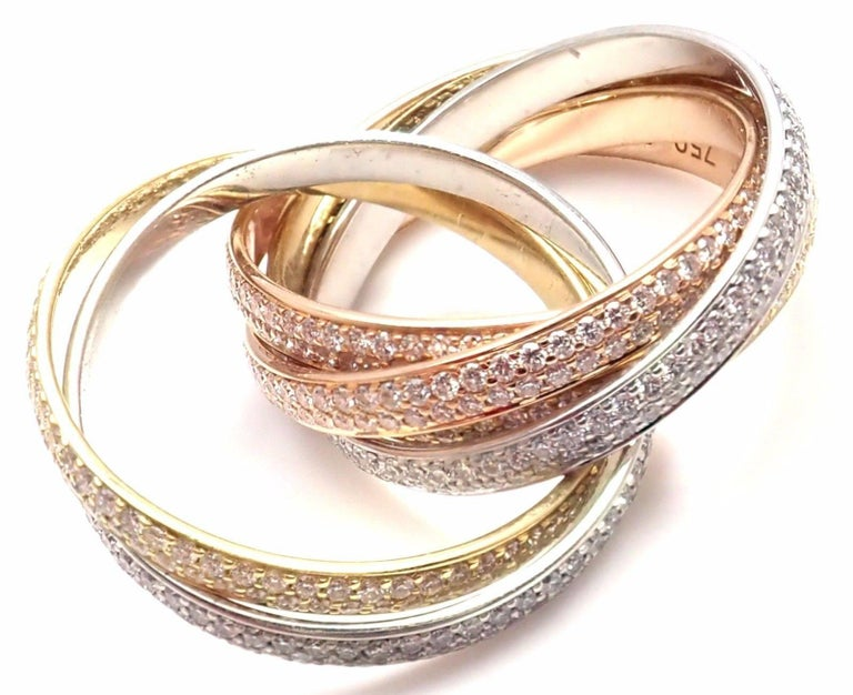 Cartier Pave Diamond Three-Color Gold Two for Trinity Six-Band Ring For Sale 5