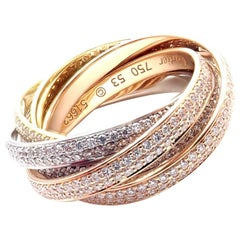 Cartier Pave Diamond Three-Color Gold Two for Trinity Six Band Ring