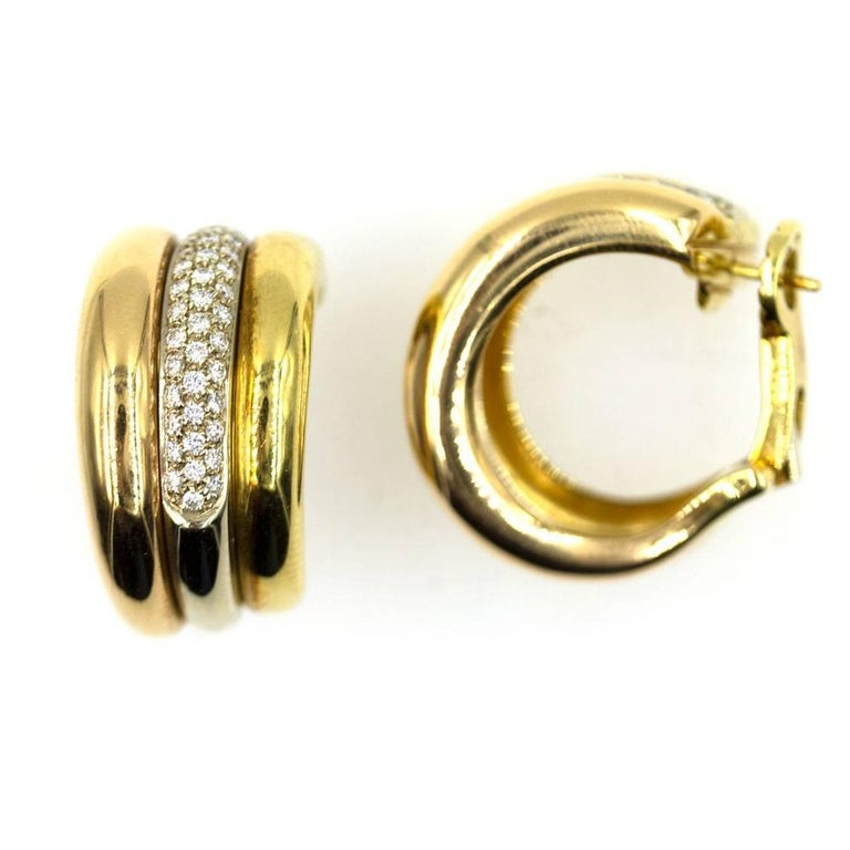 Modern Cartier Pave Diamond Tri-Color 18 Karat Gold Estate Hoop Earrings For Sale