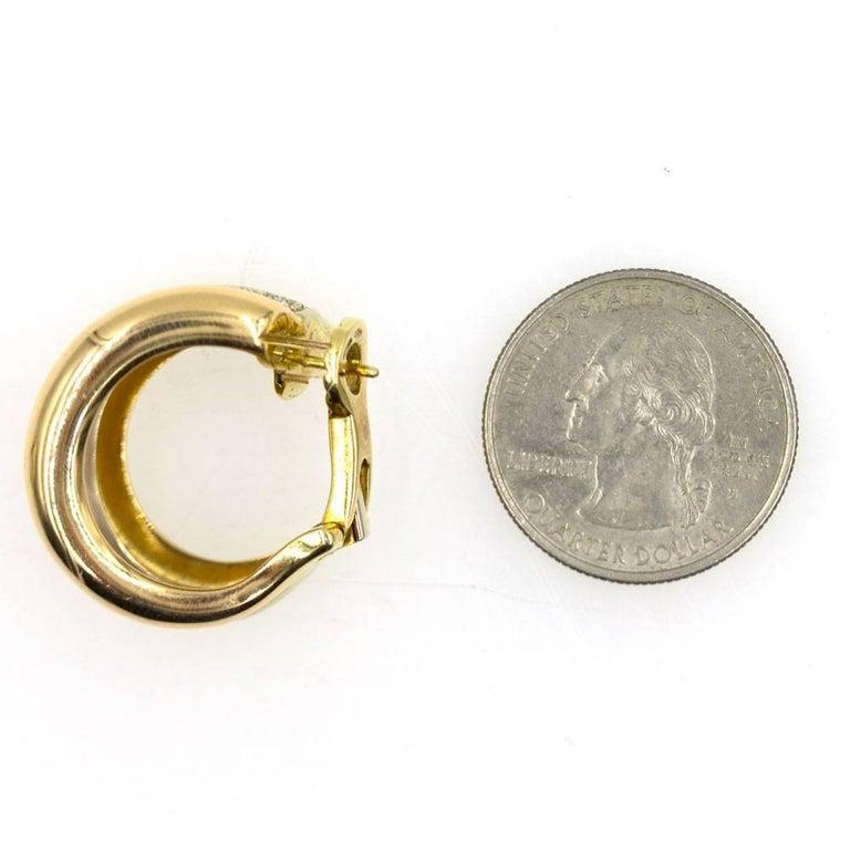 Round Cut Cartier Pave Diamond Tri-Color 18 Karat Gold Estate Hoop Earrings For Sale