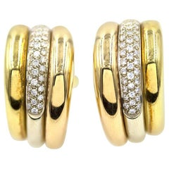 Cartier Pave Diamond Tri-Color 18 Karat Gold Hoop Earrings