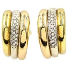 Cartier Pave Diamond Tri-Color 18 Karat Gold Estate Hoop Earrings