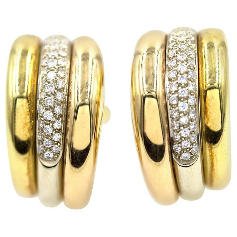 Cartier Pave Diamond Tri-Color 18 Karat Gold Estate Hoop Earrings For Sale