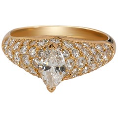 Cartier Pave Marquise Diamond Engagement Ring in 18 Karat Yellow Gold 1.9 Carat
