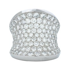 Cartier Pave Set 6.60ct Diamond Chalice Ring in 18k White Gold, French Hallmarks