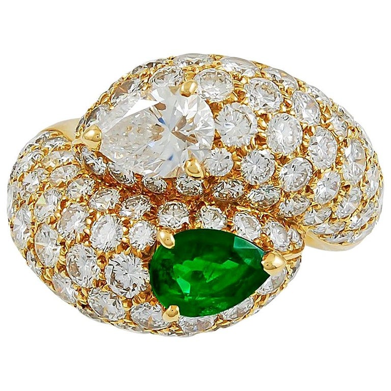 Cartier Pear-Shaped Diamond, Emerald Ring For Sale