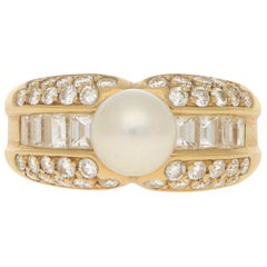 Cartier Pearl and Diamond Bombe Cocktail Ring in 18 Karat Yellow Gold