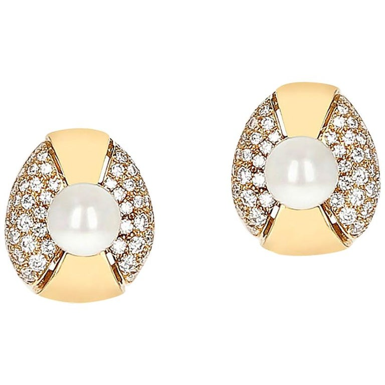 Cartier Pearl and Diamond Oval-Shape Earrings, 18 Karat Yellow Gold For Sale