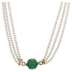 Cartier Pearl, Diamond & Chrysoprase Sautoir 18K Yellow Gold Unworn