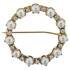 Cartier Pearl Diamond Gold Circle Brooch Pin