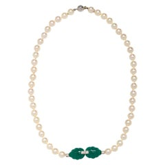 Cartier Pearl Gold and Stone Set Necklace