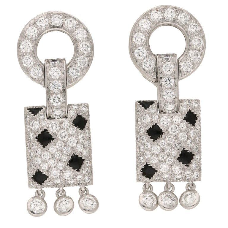 Cartier Pelage Earrings in 18 Carat White Gold, Diamond and Onyx For Sale