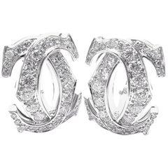 Cartier Penelope Diamond Large Double C-White Gold Earrings