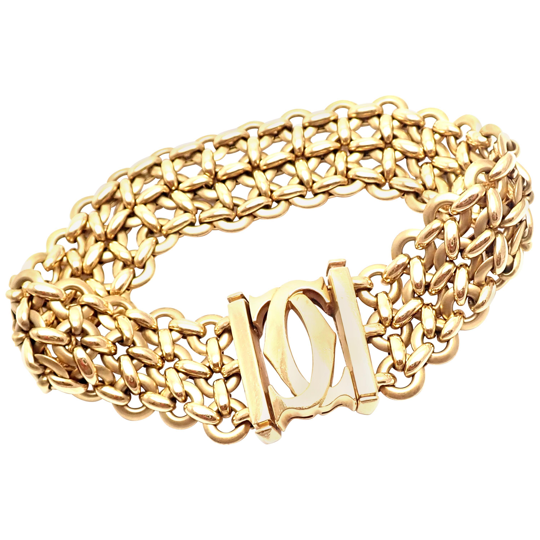 Cartier Penelope Double C Three-Row Yellow Gold Link Bracelet