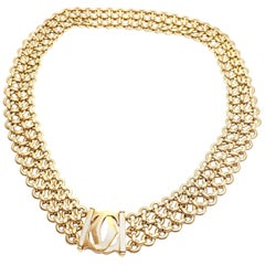 Cartier Penelope Double C Three-Row Yellow Gold Link Necklace