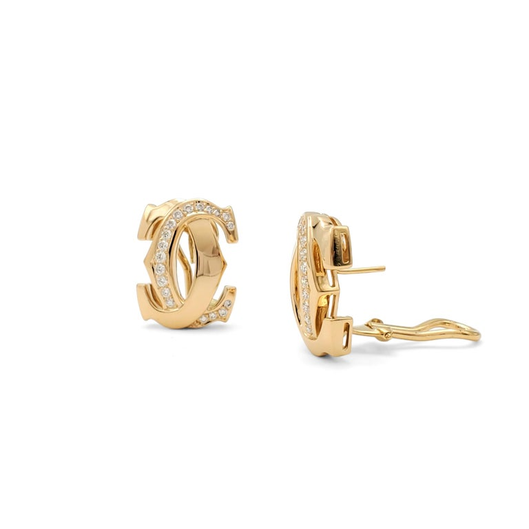 Round Cut Cartier 'Penelope' Double-C Yellow Gold and Diamond Earrings For Sale
