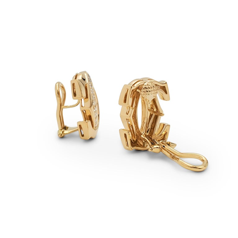 Cartier 'Penelope' Double-C Yellow Gold and Diamond Earrings In Excellent Condition For Sale In New York, NY